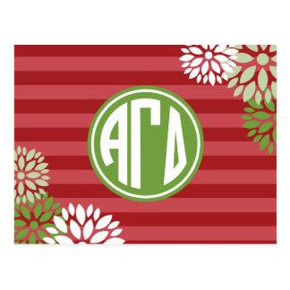 Alpha Gamma Delta   Monogram Stripe Pattern Postcard