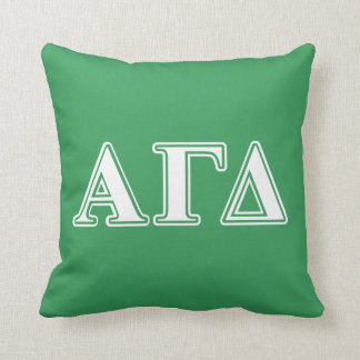 Alpha Gamma Delta White and Green Letters Cushion