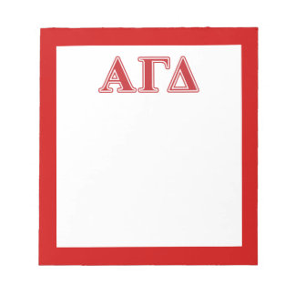 Alpha Gamma Delta White and Green Letters Notepad