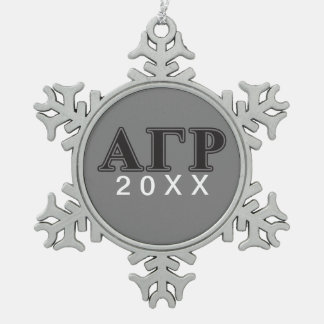 Alpha Gamma Rho Black Letters Snowflake Pewter Christmas Ornament