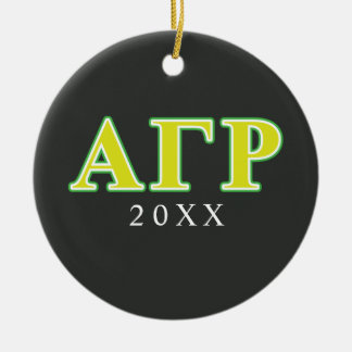 Alpha Gamma Rho Green and Yellow Letters Ceramic Ornament