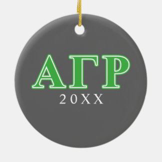 Alpha Gamma Rho Green Letters Ceramic Ornament