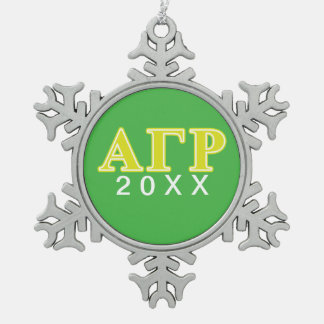 Alpha Gamma Rho Yellow Letters Snowflake Pewter Christmas Ornament