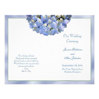 Alpha Hydrangea Folded Wedding Program Template 21.5 Cm X 28 Cm Flyer