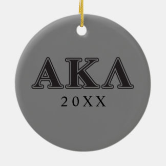 Alpha Kappa Lambda Black Letters Ceramic Ornament