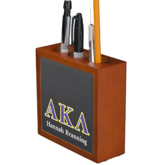 Alpha Kappa Lambda White and Yellow Letters Desk Organiser
