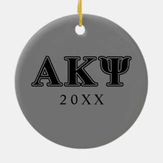 Alpha Kappa Psi Black Letters Round Ceramic Decoration