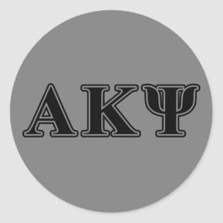 Alpha Kappa Psi Black Letters Round Sticker