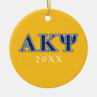 Alpha Kappa Psi Navy Letters Round Ceramic Decoration