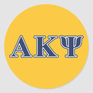 Alpha Kappa Psi Navy Letters Round Sticker