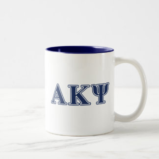 Alpha Kappa Psi Navy Letters Two-Tone Coffee Mug