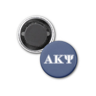 Alpha Kappa Psi White and Navy Letters 3 Cm Round Magnet