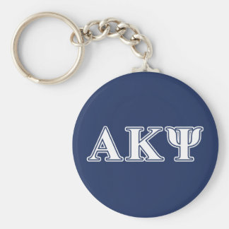 Alpha Kappa Psi White and Navy Letters Basic Round Button Key Ring