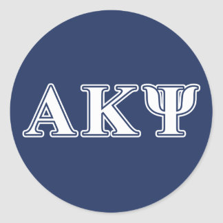 Alpha Kappa Psi White and Navy Letters Round Sticker