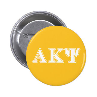 Alpha Kappa Psi White and Yellow Letters 6 Cm Round Badge
