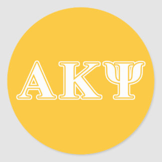 Alpha Kappa Psi White and Yellow Letters Round Sticker
