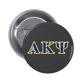 Alpha Kappa Psi Yellow and Navy Letters 6 Cm Round Badge