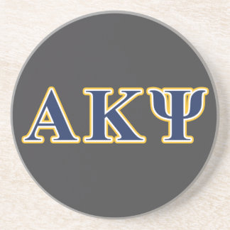 Alpha Kappa Psi Yellow and Navy Letters Coasters