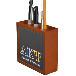 Alpha Kappa Psi Yellow and Navy Letters Desk Organizers
