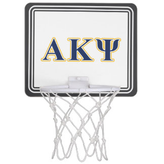 Alpha Kappa Psi Yellow and Navy Letters Mini Basketball Hoop