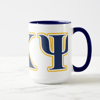Alpha Kappa Psi Yellow and Navy Letters Mug