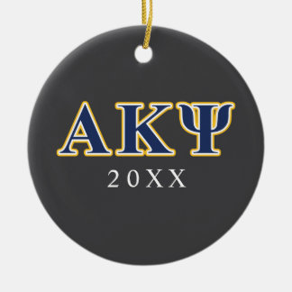 Alpha Kappa Psi Yellow and Navy Letters Round Ceramic Decoration