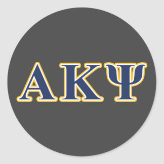 Alpha Kappa Psi Yellow and Navy Letters Round Sticker