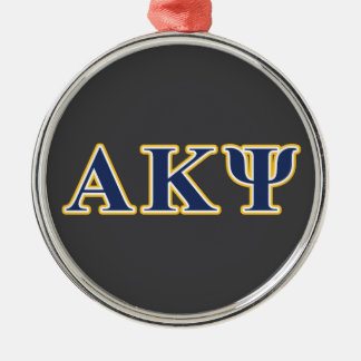 Alpha Kappa Psi Yellow and Navy Letters Silver-Colored Round Decoration