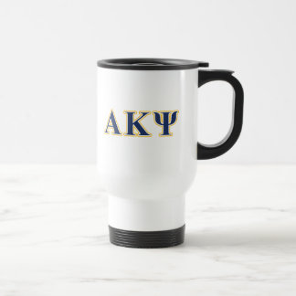 Alpha Kappa Psi Yellow and Navy Letters Travel Mug
