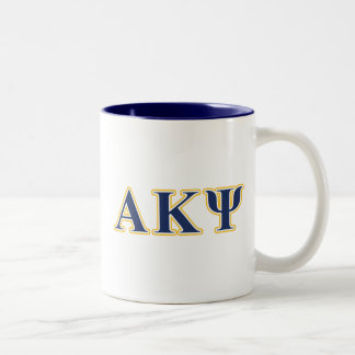 Alpha Kappa Psi Yellow and Navy Letters Two-Tone Coffee Mug