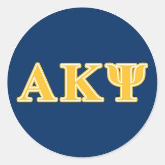 Alpha Kappa Psi Yellow Letters Classic Round Sticker