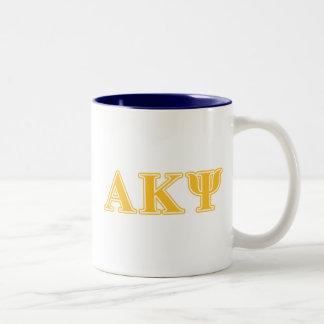 Alpha Kappa Psi Yellow Letters Coffee Mug