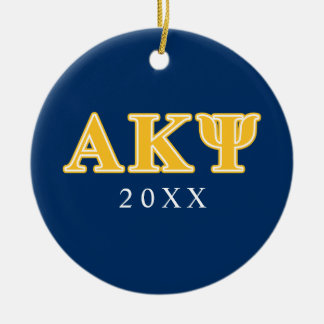 Alpha Kappa Psi Yellow Letters Round Ceramic Decoration