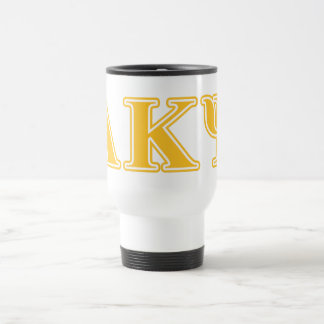 Alpha Kappa Psi Yellow Letters Travel Mug