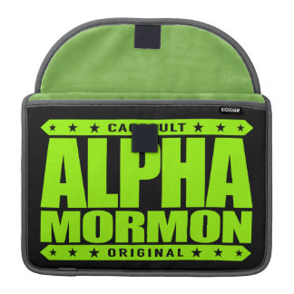 ALPHA MORMON - Church of Latter-day Saints, Lime MacBook Pro Sleeve
