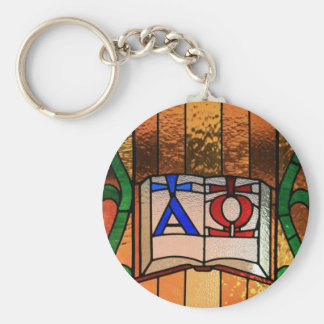 Alpha Omega Book Stained Glass Art Key Ring