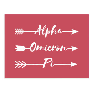 Alpha Omicron Pi Arrow Postcard