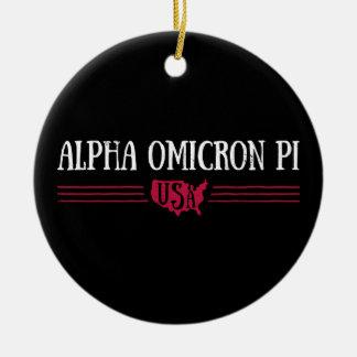 Alpha Omicron Pi USA Ceramic Ornament