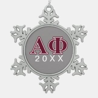 Alpha Phi Bordeaux Letters Snowflake Pewter Christmas Ornament