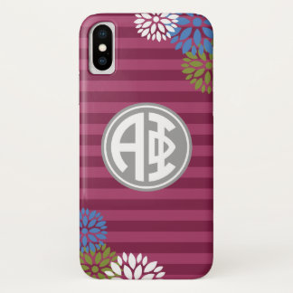 Alpha Phi | Monogram Stripe Pattern iPhone X Case