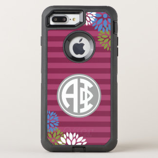 Alpha Phi | Monogram Stripe Pattern OtterBox Defender iPhone 8 Plus/7 Plus Case