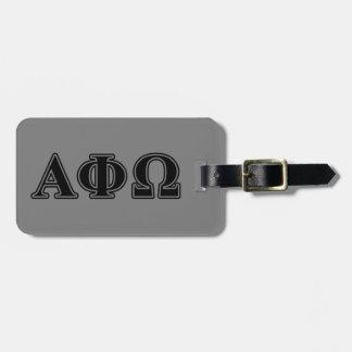 Alpha Phi Omega Black Letters Travel Bag Tag