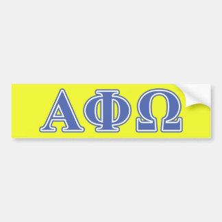Alpha Phi Omega Blue Letters Car Bumper Sticker