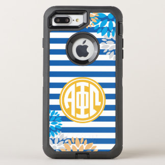 Alpha Phi Omega | Monogram Stripe Pattern OtterBox Defender iPhone 8 Plus/7 Plus Case