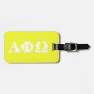 Alpha Phi Omega White and Yellow Letters Tags For Bags