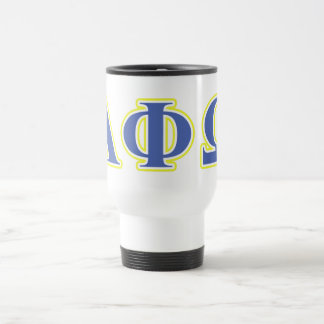 Alpha Phi Omega Yellow and Blue Letters Mugs
