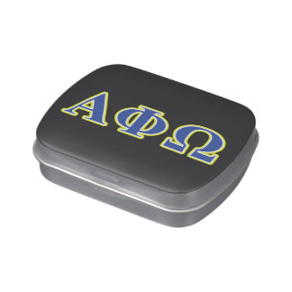 Alpha Phi Omega Yellow and Blue Letters Candy Tins