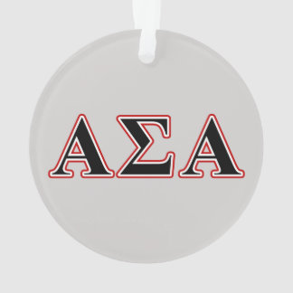 Alpha Sigma Alpha Black an Red Letters Ornament