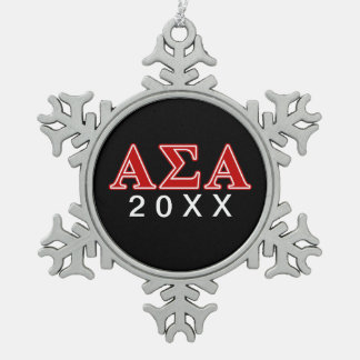 Alpha Sigma Alpha Red Letters Snowflake Pewter Christmas Ornament