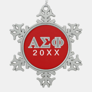 Alpha Sigma Phi Grey Letters Snowflake Pewter Christmas Ornament